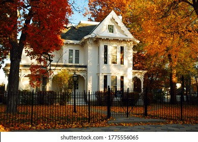 Independence, MO, USA November 2 Fall colors surround the former home of US President Harry Truman in Independence, Missouri