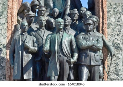 Independence Monument commemorating Kemal Ataturk and the founding of the Turkish Republic (1923) Taksim Square in Istanbul Turkey