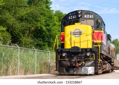 INDEPENDENCE, OH - AUGUST 17, 2013: A locomotive for the Cuyahoga Valley Scenic Railroad rests on a siding on August 17, 2013. The CVSR provides excursions from just south of Cleveland to Akron.