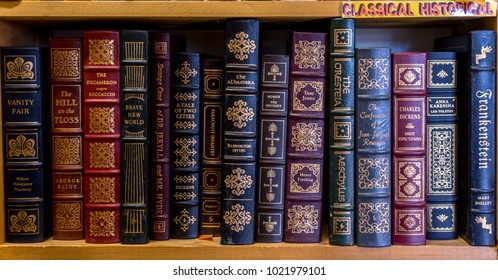 Independence, Oregon/U.S.A. January 13, 2018:  Shelves of leather-bond classic literature in a used book store.