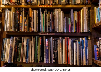 Independence, Oregon/U.S.A. January 13, 2018:  Shelves of old books in a used book store.
