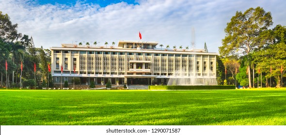 Independence Palace or Reunification Palace in Ho Chi Minh City, Vietnam. Panorama
