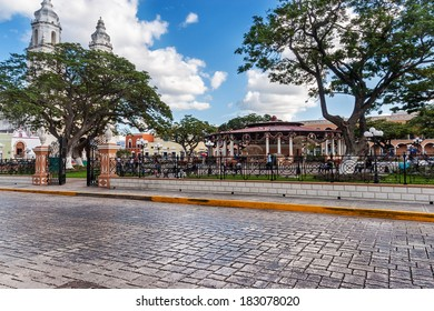 Independence Plaza, Campeche, Mexico with cathedral on the opposite side of the square