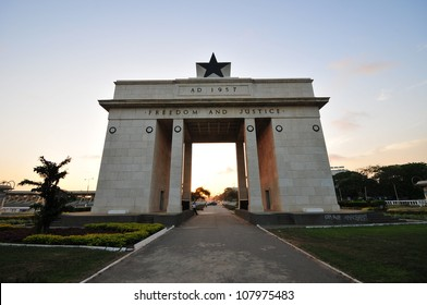 "The Independence Square of Accra, Ghana, inscribed with the words ""Freedom and Justice, AD 1957"", commemorates the independence of Ghana, a first for Sub Saharan Africa."