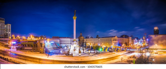 Independence square panorama in Kiev, Ukraine