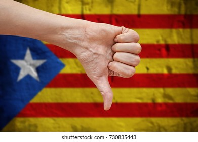 Independent Catalonia. Hand with thumb down.