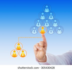 Index finger connecting a single female knowledge worker icon with an outsourced team of three white collar employees. Business concept for outsourcing, crowd sourcing and exchange of services.