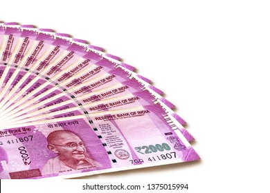 India 2000 rupee note on white background