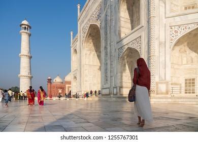 India, Agra Sept 2018: The inside of the Taj Mahal in India