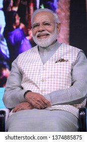 INDIA- APRIL,19 2019: Prime Minister Narendra Modi promises pension and loan facilities for traders and shopkeepers at an event in New Delhi at Talkatora Stadium on Friday