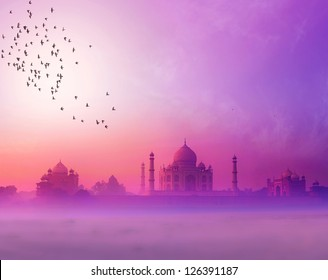 India background of Indian travel wonder Taj Mahal landscape photography