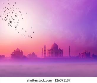 India background of Indian travel wonder Taj Mahal landscape photography
