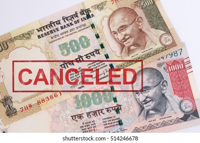 India canceled banknote. India rupee 500 and 1000 banknote declared illegal. 500 and 1000 Rupee note banned. Canceled banknote concept. Mahatma Gandhi on Indian 500, 1000 rupee banknote canceled.