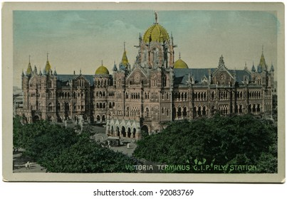 INDIA - CIRCA 1907: Reproduction of antique postcard shows Victoria Terminus now Chhatrapati Shivaji Terminus is a UNESCO World Heritage Site and historic railway station in Mumbai, India