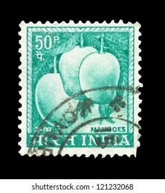 INDIA - CIRCA 1923: A stamp printed in India shows image of mangoes, series, circa 1923