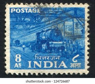 INDIA - CIRCA 1955: stamp printed by India, shows train, people, interior, circa 1955