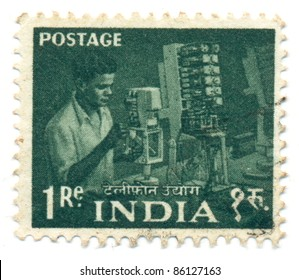 INDIA - CIRCA 1955: A stamp printed in India, shows Telephony Specialist, circa 1955