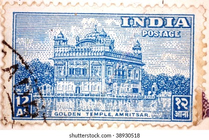 INDIA - CIRCA 1957: A stamp printed in India shows image of the Golden Temple at Amritsar, series, circa 1957
