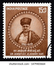 INDIA - CIRCA 1959: A stamp printed in India issued for the 100th anniversary of the death of Sir Jamsetjee Jejeebhoy, philanthropist shows Sir Jamsetjee Jejeebhoy, circa 1959.