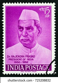 INDIA - CIRCA 1962: A stamp printed in India issued for the retirement of President Dr. Rajendra Prasad shows Dr. Rajendra Prasad, circa 1962.
