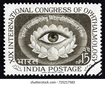 INDIA - CIRCA 1962: A stamp printed in India issued for the 19th International Ophthalmology Congress, New Delhi shows Human Eye within Lotus Blossom, circa 1962.