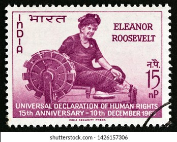 INDIA - CIRCA 1963: A stamp printed in India issued for the 15th anniversary of Declaration of Human Rights shows Eleanor Roosevelt, circa 1963.