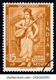 INDIA - CIRCA 1964: A stamp printed in India issued for the 400th anniversary of the death of Purandaradasa shows  great devotee of Lord Krishna Purandaradasa, circa 1964.