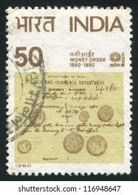 INDIA - CIRCA 1980: stamp printed by India, shows Money Order Centenary, circa 1980