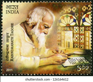 INDIA - CIRCA 2011: A stamp printed in India shows Rabindranath Tagore (1861-1941), Indian poet, circa 2011