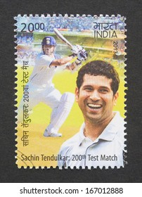 INDIA - CIRCA 2013: a postage stamp printed in India commemorative of the 200th Test Match of Sachin Tendulkar cricket player, circa 2013.