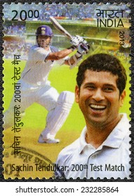 INDIA - CIRCA 2013: A stamp printed in India shows Sachin Tendulkar, cricketer player, dedicated 200th Test Match, circa 2013