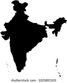 India country Map illustration black.