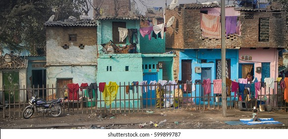 India, Delhi - Dec 28, 2015: Typical home stay of not very rich Indians, mix of villages and towns, Megapolis Delhi (outskirts)