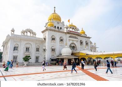 India, Delhi, New Delhi - 9 January 2020 - Gurudwara Bangla Sahib, the Sikh temple of New Delhi