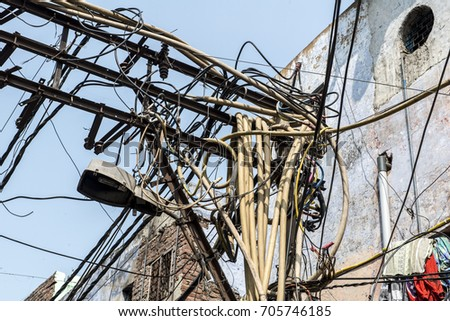 Pleasant India Delhi Tangle Electrical Wiring Old Stock Photo Edit Now Wiring 101 Ferenstreekradiomeanderfmnl