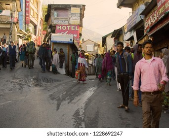 India, Dharamsala - March 10, 2018: Shopping area with lots of buyers and sellers, Bazaar in a city on a steep mountainside. Daily life of Indian cities and villages. Street photoset
