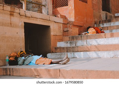 India, Feb2020 : The ascetics are sleeping at stair.