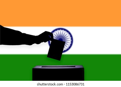 India flag with ballot box during elections / referendum