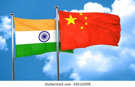 India flag with China flag, 3D rendering