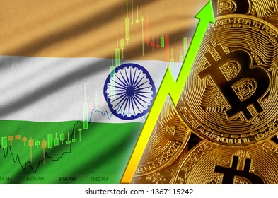India flag and cryptocurrency growing trend with many golden bitcoins