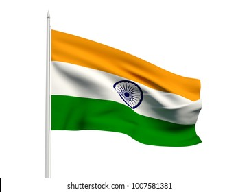 India flag floating in the wind with a White sky background. 3D illustration.