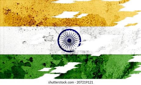 india flag lacerate old texture with seam
