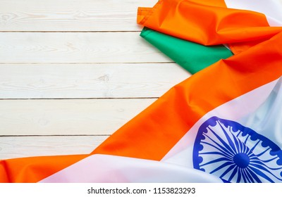 India Flag on wood texture background concept for 15 august independence day wallpaper, Happy 26 january republic day Banner decoration mock up product for diwali baisakhi traditional festival