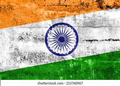 India Flag painted on grunge wall