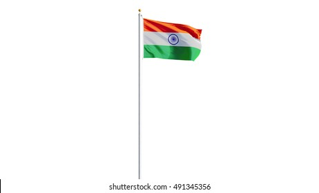 India flag waving on white background, long shot, isolated with clipping path mask alpha channel transparency