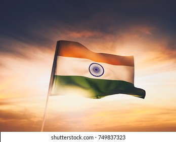India flag waving with pride on a sunny day / high contrast image