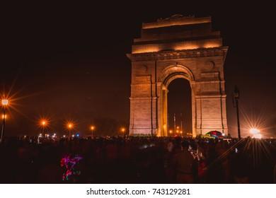 India Gate with Bright Lights at Night, Rajpath Marg, New Delhi, Delhi, India