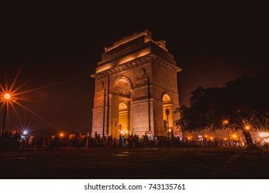 India Gate with Bright Lights at Night, Rajpath Marg, New Delhi, Delhi, India
