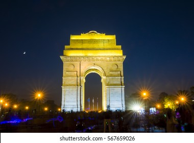 India Gate by night, New Delhi, India.