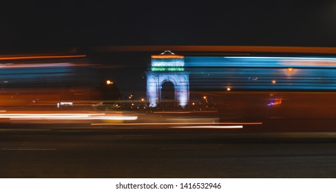 India gate during night time. Chaos during night.